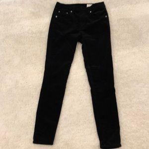 Rag & Bone high rise skinny black velvet pants